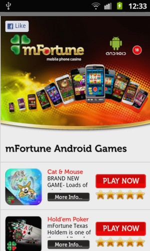 mFortune mobile phone Casino Bildschirmfoto