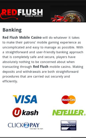 Banking Einzahlungsmethoden in Red Flush Mobile