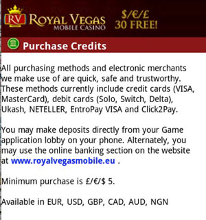 Banking Einzahlungsmethoden in Royal Vegas Mobile Casino
